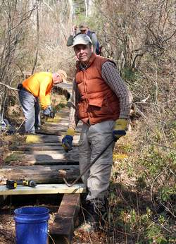AMC volunteer Dexter helps with boardwalk