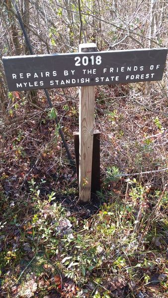 sign recognizing the Friends along trail