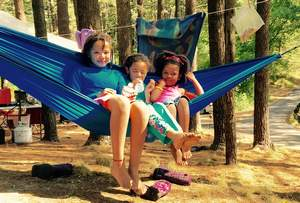 Kids on hammock in Myles Standish State Forest